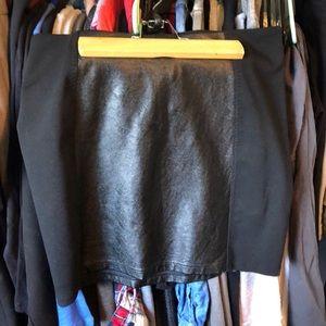 Black Stretch & Pleather Skirt